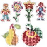 Steckbrett, 2 Blumen, Mädchen, Junge, Apfel und Birne, Größe 8,5x14-14x16 cm, 6 Stck./ 1 Pck.