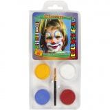 Eulenspiegel Gesichtsschminke - Motivset, Sortierte Farben, Clown, 1 Set