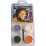 Eulenspiegel Gesichtsschminke - Motivset, Sortierte Farben, Halloween-Hexe, 1 Set