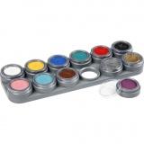 Grimas Gesichtsschminke auf Farbpalette, Sortierte Farben, 12x2,5 ml/ 1 Stck.