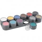 Grimas Gesichtsschminke auf Farbpalette, Sortierte Farben, 12x15 ml/ 1 Stck.