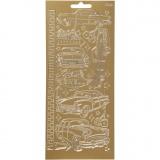 Sticker, Gold, Autos, 10x23 cm, 1 Bl.