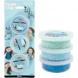 Foam Clay® , Blau, Hellblau, Grün, Glitter,Metallisch , 3x14 g/ 1 Pck.