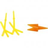 Hühner-Schnäbel und Hühner-Füße, Orange, Gelb, H: 28 mm, L: 30+37 mm, 8 Set/ 1 Pck.