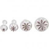 Ausstecher mit Stempelgriff, Weiß, Blume, D: 2,8+3,6+4,4 cm, 4 Stck./ 1 Pck.