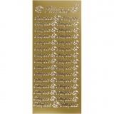 Sticker, Gold, 10x23 cm, 1 Bl.