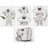 Plastik-Schrumpffolien mit Motiv, Matt transparent, Piraten, 10,5x14,5 cm, 4 Bl./ 1 Pck.