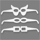 Brillen, Weiß, H: 4,5-10 cm, L: 32 cm, 230 g, 16 Stck./ 1 Pck.