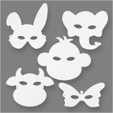 Tier-Masken, Weiß, H: 13-24 cm, B: 20-28 cm, 230 g, 16 Stck./ 1 Pck.