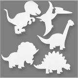 Dinosaurier, Weiß, H: 15-22 cm, B: 24-25 cm, 230 g, 16 Stck./ 1 Pck.