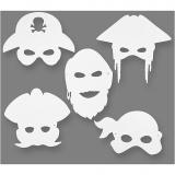Piraten-Masken, Weiß, H: 16-26 cm, B: 17,5-26,5 cm, 230 g, 16 Stck./ 1 Pck.