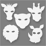 Dschungeltier-Masken, Weiß, H: 22,5-25 cm, B: 20,5-22,5 cm, 230 g, 16 Stck./ 1 Pck.
