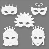Märchen-Masken, Weiß, H: 13,5-25 cm, B: 17-25 cm, 230 g, 16 Stck./ 1 Pck.