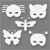 Insekten-Masken, Weiß, H: 14-17 cm, B: 19,5-23 cm, 230 g, 16 Stck./ 1 Pck.