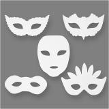 Karnevals-Masken, Weiß, H: 8,5-19 cm, B: 15-20,5 cm, 230 g, 16 Stck./ 1 Pck.