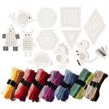 Stickfiguren und -garn, Sortierte Farben, Größe 8-17 cm, 1 Set