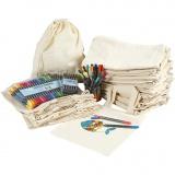 Henkel-Stofftaschen und Zugband-Stoffbeutel mit Filzstiften zum Bemalen, Sortierte Farben, Größe 27,5x30 cm, 1 Set