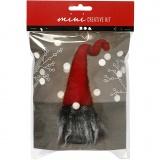 Mini-Kreativset, Weihnachtswichtel mit grauem Bart, H: 13 cm, 1 Set