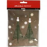 Mini-Kreativset, Weihnachtsbaum aus Macramé, H: 11 cm, 1 Set