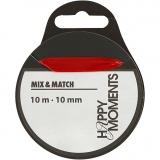 Satinband, Rot, B: 10 mm, 10 m/ 1 Rolle