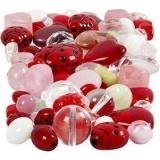 Glasperlen, Sortierte Farben, Marienkäfer, Blätter, Herzen, Größe 5-22 mm, Lochgröße 0,5-1,5 mm, 60 g/ 1 Pck.