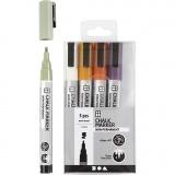 Kreide-Marker, Pastellfarben, Strichstärke 1,2-3 mm, 5 Stck./ 1 Pck.