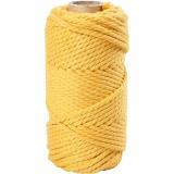 Macramé-Kordel, Gelb, L: 55 m, D: 4 mm, 330 g/ 1 Rolle