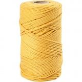 Macramé-Kordel, Gelb, L: 198 m, D: 2 mm, 330 g/ 1 Rolle