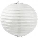 Reispapier-Lampe/-Lampion, Weiß, Rund, D: 35 cm, 1 Stk
