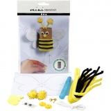 Mini-Kreativ-Set, Hüpfbiene aus einer Papprolle, 1 Set