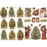 Vintage-Glanzbilder, Nikolaus und Weihnachtsbäume, 16,5x23,5 cm, 2 Bl./ 1 Pck.