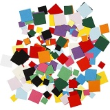 Karton-Mosaik, Quadrat, Größe 10+15+20 mm, 180 g/ 1 Pck.