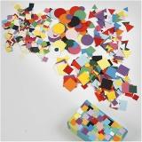 Karton-Mosaik, Sortierte Farben, Größe 10+15+20 mm, 8x180 g/ 1 Pck.