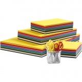 Farbiger Bastelkarton und Kinderscheren, Sortierte Farben, A3,A4,A5,A6, 180 g, 1 Set