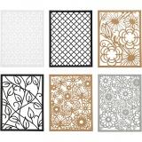 Block aus Karton mit Spitzen-Muster, Schwarz, Natur, Grau, Weiß, A6, 104x146 mm, 200 g, 24 Stck./ 1 Pck.
