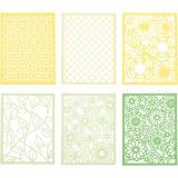 Block aus Karton mit Spitzen-Muster, Grün, Hellgrün, Gelb, Hellgelb, A6, 104x146 mm, 200 g, 24 Stck./ 1 Pck.