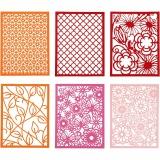 Block aus Karton mit Spitzen-Muster, Orange, Pink, Rot, Rosa, A6, 104x146 mm, 200 g, 24 Stck./ 1 Pck.