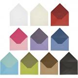 Kuvert, Sortierte Farben, Umschlaggröße 11,5x16 cm, Inhalt kann variieren , 100 g, 30 Pck./ 1 Pck.