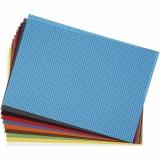 Stickkarton, Sortierte Farben, Größe 23x33 cm, 3x3 Löcher pro cm , 10 Bl. sort./ 1 Pck.