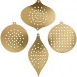 Stickkarton, Metallic Gold, H: 8,5-12 cm, Lochgröße 3 mm, 8 Stck./ 1 Pck.