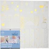 Malblock für Aquarellfarbe aus bedrucktem Papier, Weiß, Größe 30,5x30,5 cm, 12 Bl./ 1 Stck.
