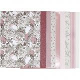 Block mit Design-Papier, Beige, Braun, Rosa, Weiß, Größe 21x30 cm, 120+128 g, 24 Bl./ 1 Pck.