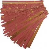 Papierstreifen für Fröbelsterne, Gold, Rot, L: 44+78 cm, B: 15+25 mm, D: 6,5+11,5 cm, 48 Streifen/ 1 Pck.