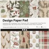 Design-Papier im Block, Braun, Rot, 15,2x15,2 cm, 120 g, 50 Bl./ 1 Pck.