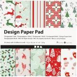 Design-Papier im Block, Grün, Rot, Weiß, 15,2x15,2 cm, 120 g, 50 Bl./ 1 Pck.