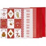 Block mit Design-Papier, Rot, Weiß, Größe 21x30 cm, 120+128 g, 24 Bl./ 1 Pck.