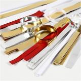 Papierstreifen für Fröbelsterne, Gold, Rot, Silber, Weiß, L: 44+78 cm, B: 10+15+25 mm, D: 4,5+6,5+11,5 cm, 5000 Streifen/ 1 sort.