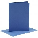 Karten & Kuverts, Blau, Kartengröße 10,5x15 cm, Umschlaggröße 11,5x16,5 cm, 110+220 g, 6 Set/ 1 Pck.