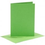 Karten & Kuverts, Grün, Kartengröße 10,5x15 cm, Umschlaggröße 11,5x16,5 cm, 110+220 g, 6 Set/ 1 Pck.