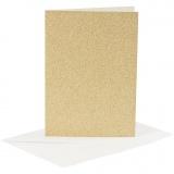 Karten & Kuverts, Gold, Kartengröße 10,5x15 cm, Umschlaggröße 11,5x16,5 cm, Glitter, 120+250 g, 4 Set/ 1 Pck.
